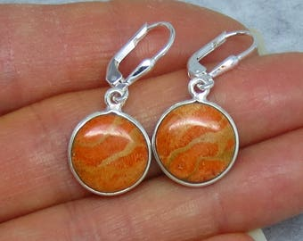 Italian Coral Leverback Earrings - Sterling Silver - Round Simple Lightweight Classic Dainty Delicate Small - SU181506 - Free Shipping
