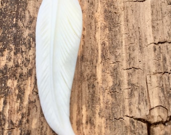Small Boho Bison Bone Feather Necklace