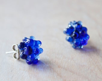 Glass Cluster Dot Earrings - Cobalt
