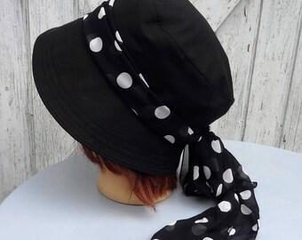Wide-brimmed hat cloche Hat Leolix black linen/cotton lined - t 56 - 56, 5 cm