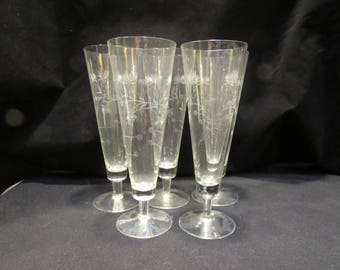 Tall Etched Crystal Pilsners,Tall Etched Crystal Glasses, 1940's Stemware, Barware, Set of 5  (1495)