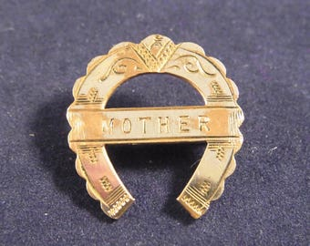 Antique Victorian era Mother lucky horseshoe brooch circa 1900s .  Vintage Good Luck Brooch name pin Mother's Day silver plated on brass