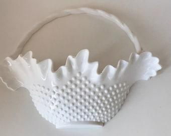 """Vintage Burwood Hobnail Large 14"""" Faux Milk Glass Wall Basket Floral Pocket"""