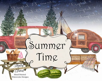 Happy Camper Clipart Camping Trip Watercolor Woody Jeep Teardrop Camper Watermelon, Bench, Picnic Table, Summer Fun. No. WC111