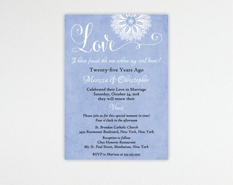 Vow Renewal Invitation, Anniversary Invitation, 10th, 20th, 25th, 35th, 50th, Wedding Invitation, digital, printable, invite, V1487