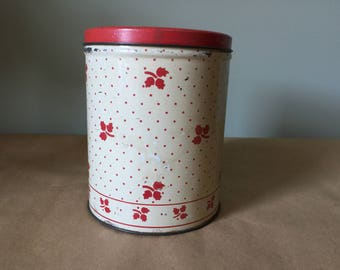 1940s White and Red Tin Canister Kitchen Storage Tin Kitchenalia Empeco Can Company