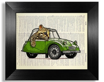 Tabby Cat Driver Gift, TABBY CAT Art Print, Tabby Cat Print, Tabby Cat Wall Art, Tabby Cat Poster, Vintage CAR Decor, Cute Green Car Art
