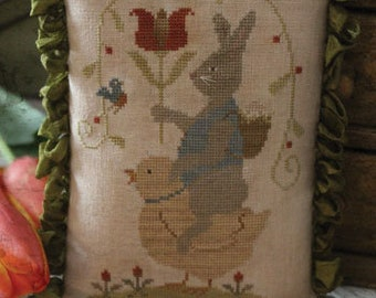 """WITH THY NEEDLE & Thread """"Easter Parade""""   Primitive Counted Cross Stitch Pattern   Easter, Spring, Bunny, Chick, Tulip, Birds"""