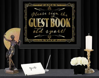 Guest Book Gatsby Poster - INSTANT DOWNLOAD - Printable Birthday Party Wedding Reception & New Years Art Deco 1920s Sign