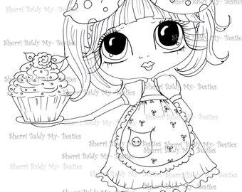 INSTANT DOWNLOAD Digital Digi Stamps Big Eye Big Head Dolls Digi  My Besties Cupcakes By Sherri Baldy