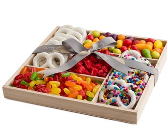 The Nuttery Deluxe Wooden 5 Section - Candy and Chocolate Rainbow Colored Sweet Delights Gift Basket
