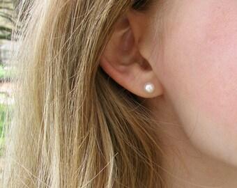 5.5-6mm Real Pearl Stud Earrings - Small Pearl Stud Earrings - Petite Pearl Studs - Flower Girl Pearl Earrings - Small Round Pearl Studs