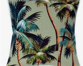 Hawaiian Tropical Palm Trees Cushion Cover Native Green Barkcloth Beach Island Polynesian Tropical Home Decor Bedding
