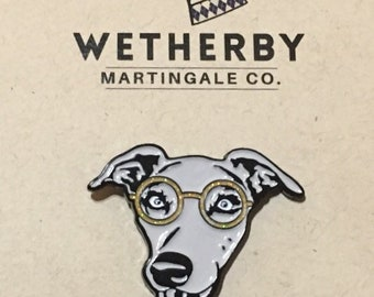 Sophisticated Hound with glasses 1.25 inch Soft Enamel Lapel Pin (Greyhound, Sighthound Lovers, dog nerds)