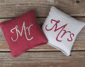 Wedding Mr and Mrs Cornhole Game Bags - Mr & Mrs - Set of 8 Shown in Burgundy and Grey