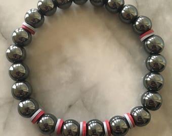 Gunmetal gray beaded bracelet