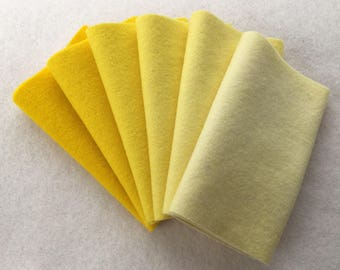 """Hand Dyed Felted Wool Gradation, DAFFODIL, Value Gradient in Clear Lemon Yellow, 6 pcs. 6.5"""" x 16"""" Each"""
