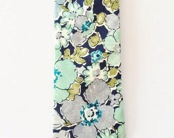 Green Liberty of London Tie, green men's tie, floral necktie, moss green tie, green skinny tie, green floral tie, blue floral tie, eloise