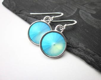 Opal Blue Dangles, Pastel Blue Dangle Earrings, Women's Blue Opal Jewelry, Pastel Crystal Earrings, Pastel Swarovski Earrings, Opalescent