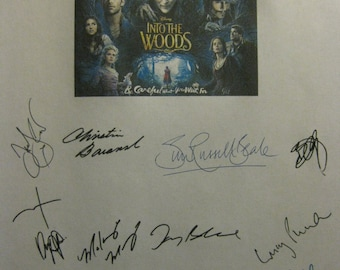 Into the Woods Signed Film Movie Screenplay Script X15 Autograph Meryl Streep Emily Blunt Anna Kendrick James Corden Johnny Depp Chris Pine