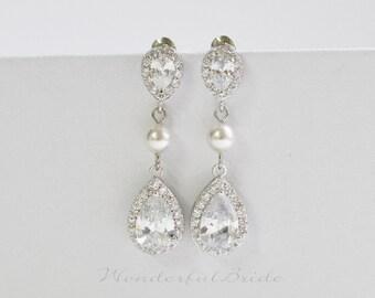 CZ Earrings, wedding jewelry, wedding earrings, bridal earrings, tear drop earrings, bridesmaid jewelry, Bridal Jewelry