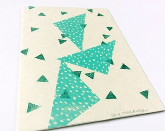 linocut - TRIANGLES // 5x7 art print // linocut printmaking // turquoise // geometric // blue-green // miniature // small