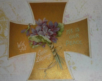 Gold Easter Cross With Violets  Antique Card NISTER
