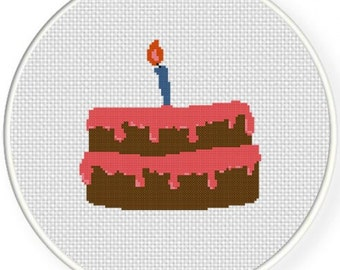 Birthday Cake, Handmade Unframed Cross Stitch- Birthday Gift, Birthday Cards, Birthday Cake, Birthday Invitation, Birthday Candles
