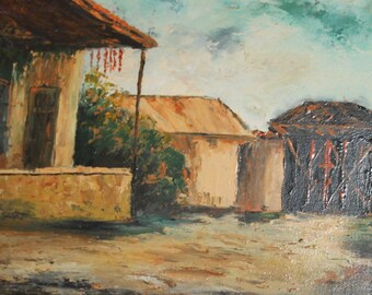 Vintage oil painting country village scene