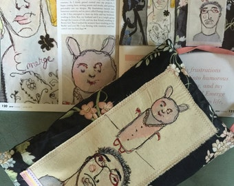 Art Kitty Boy - Free Motion Embroidered Art Pillow created by Trish Vernazza of Visions of Venus