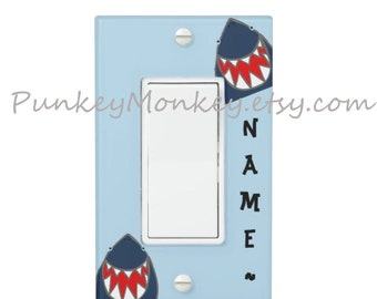 Rocker plate Shark lightswitch cover plate children's room decor ocean beach sharks bathroom bedroom decor blue or white personalized or not