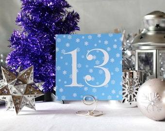 Winter Snow Wedding Table Number Romantic Blue Christmas Party New Year's Eve