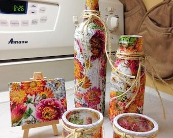 Wildflowers decorative bottles / vases, Tea light, canvas set