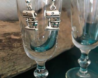 Mixer Earrings Drop Earring Fish Hook Earrings Silver Dangle Kitchen Mixer
