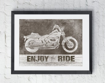 Motorcycle Art Print, Enjoy the ride, Motorcycle wall decor, gift for him, Motorcycle art, Fathers Day gift