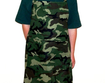 Camouflage Child's Apron, Camo Apron,  Personalized With Name, No Shipping Charge, Ready To Ship TODAY, AGFT 389