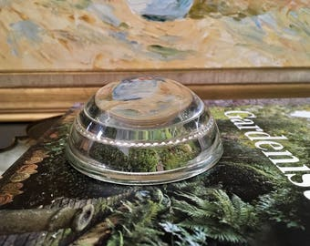 Vintage Glass Magnifier Paperweight, Clear Glass