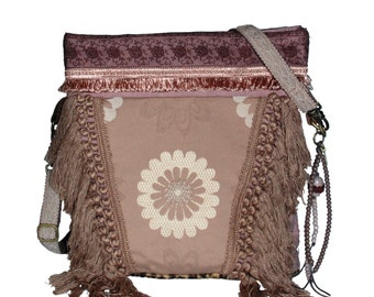 Fringed crossbody bag in taupe and vintage pink with lace - boho shabby chic style - handmade OOAK shoulder bag