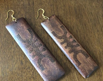 Rectangle African Symbol Earrings
