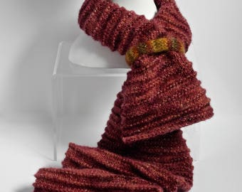 Alpaca Scarf Knit in Red with Gold Metallic