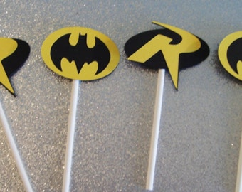 12 Batman and Robin Cupcake Toppers ~ Yellow and Black (245C)