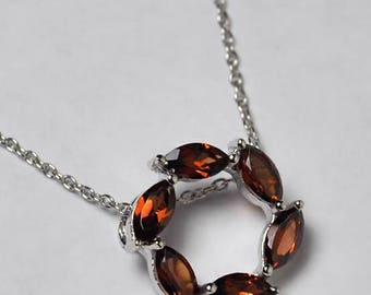 Womens Garnet Gemstone Circle of Love Round Pendant Necklace Sterling Silver 18 inch