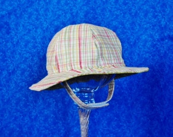 Green Plaid Baby Sunhat with Chin Straps