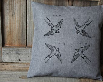 Barn Swallow Pillow Cover, Bird Cushion