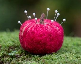 Apple Pincushion needle felted handmade wool #006