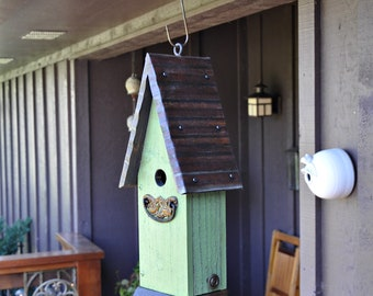 Green Rustic Hanging Birdhouse - The Cottage - Outdoor Birdhouse, Wooden Birdhouse, Unique Birdhouse, Wren Birdhouse, Painted Birdhouse
