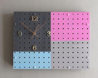 unusual gift - pegboard organizer /clock - light magenta/teal/gray/charcoal – Block of Time - quartz clock - home décor - wall art