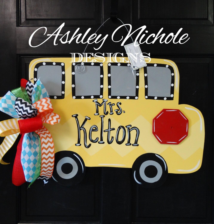 SHIPS NOW School Bus Door Hanger Back to School Decor