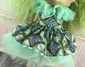 Blythe Tutu Dress Set - Mint Gold and Blue