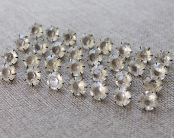 Vintage Set of 30 Large Silver Tone Metal Prong Set Faceted Rhinestone Buttons, Vintage Jewelry Making Supply